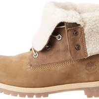 Timberland Women's Teddy Fleece Fold Down WP Ankle Boot,Taupe,8.5 M US