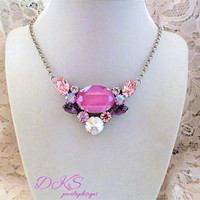 Pinklicious, Swarovski Necklace, Statement,  Pink, Shimmer, Bib, Oval, Adjustable,  DKSJewelrydesigns, FREE SHIPPING