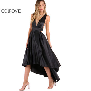 COLROVIE European Style Backless Criss Cross Back Long Dress Party Black Deep V Neck Cut Out High Low Dress