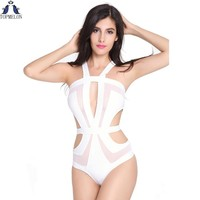 Monokini high waist swimsuit  Sheer Mesh Cutouts