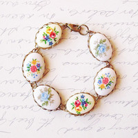 LAST ONE - Flower Cameo Bracelet - Vintage Floral Cameos - Colorful Cute Adorable Elegant - Romantic - Romance - Whimsical - Whimsy - Dreamy