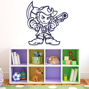 Pirate With Sword And Pistol Vinyl Decals Wall Sticker Art Design Kids Children Nursery Room Nice Picture Home Decor Interior ki672