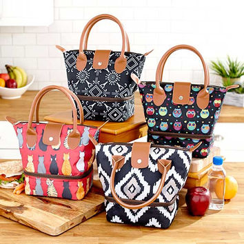 Insulated Lunch Totes with Dual-Compartment