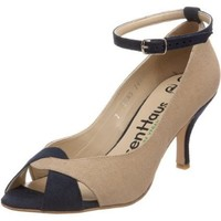 olsenHaus Women`s Grace-St Simon Pump,Linen- Navy,9 M US