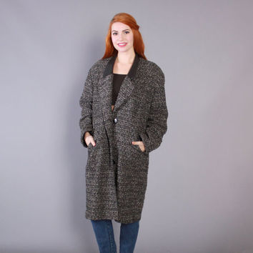 80s AVANT Garde WOOL COAT / Black & White Tweed and Leather Trim Draped Jacket