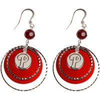 LogoArt Philadelphia Phillies Women's Mirrored Game Day Earrings - Silvertone/Red - http://www.shareasale.com/m-pr.cfm?merchantID=7124&userID=1042934&productID=525382398 / Philadelphia Phillies