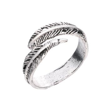 Retro Indian feathers open ring male personality titanium steel ring men and women universal