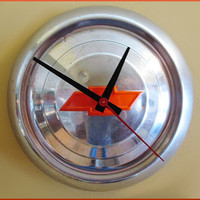 Vintage 1950s  Chevy Engine Orange Bow Tie Hub Cap Re-purposed  into a Man Cave Wall Clock