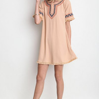 Frayed Trim Shift Dress