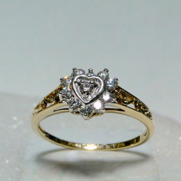 Happy Wife Holiday Solid Gold Heart Covered in Lab Diamond CZ's Like New, Size 6.75, Girlfriend Gift Idea for Holidays