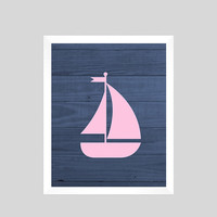 Pink Nautical Sailboat on Navy Wood Print Nursery Decor Baby Print CUSTOMIZE YOUR COLORS 8x10 Prints Nursery Decor Art Baby Room Decor Kids