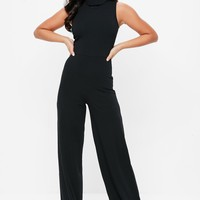 Missguided - Black Roll Neck Sleeveless Ribbed Jumpsuit