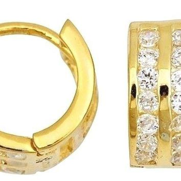 14k Y. gold layer Brilliance three row Channel set CZ Hoop Huggie Earring Solid