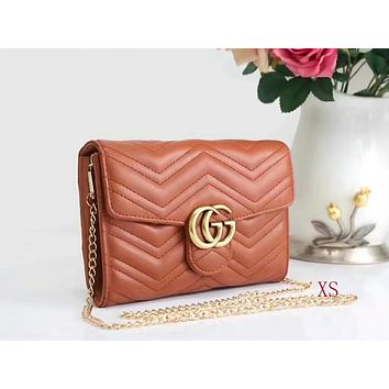 GUCCI tide brand Ms. handbag F brown