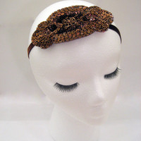 1920s inspired flapper art deco headband headpiece Great Gatsby Downton Abbey Boardwalk Empire bronze beaded sequin fascinator