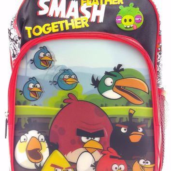 "Rovio Angry Birds Boys & Girls 16"" Canvas Red School Backpack 3D Applique"
