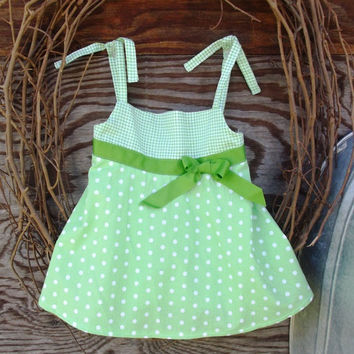 Girl's Green  top and shorts, size 4, tie straps
