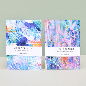 'Ocean' Set of 2 A5 Notebooks With Lined Pages by Nikki Strange