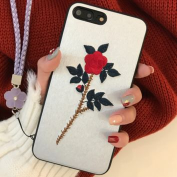 Embroidery flowers iPhon7plus phone shell lanyard iPhone6sp protective sleeve female models Apple X drop i8 soft shell Silver