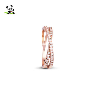 Brass Micro Pave Cubic Zirconia Criss Cross Finger Ring, Rose Gold, 18mm