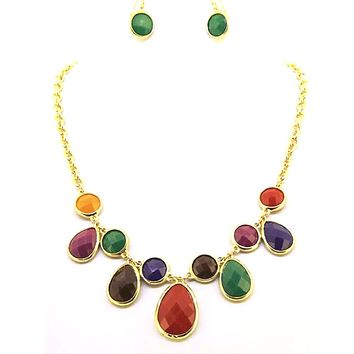 Multi Colored Teardrop and Round Stone Statement Necklace