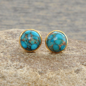 Copper Blue Turquoise Round 9mm Micron Gold Plated 925 Sterling Silver Stud Earring - #1683