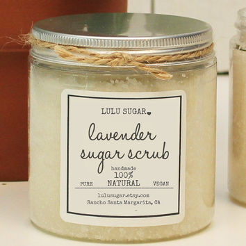 Lavender Sugar Scrub 8oz - All Natural - Vegan - Handmade with Lavender Essential Oil