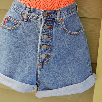Vintage 80s Bongo High Waisted Button Fly Stone Washed Jean Shorts Size 7