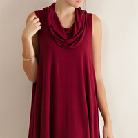Cowl Neck Flare Dress - Burgundy