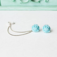 Sweet Blue Blooming Rose Double Silver Chain Ear by oflovelythings