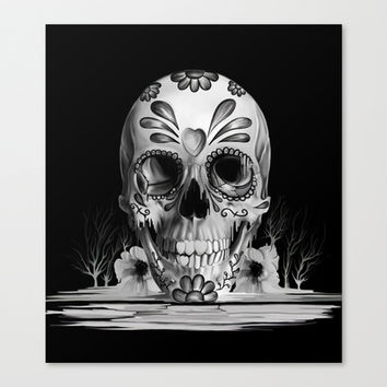 Pulled sugar, day of the dead skull Stretched Canvas by Kristy Patterson Design
