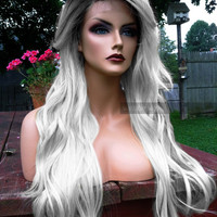 "U.S.A. // 24"" Gray Silver White Long Heat OK Wavy Lace Front & Skin Top Part Wig w/ Ombre Grey Dark Root"