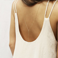 Mini Ball Back Drop Necklace // Bridal Jewelry for Low Back Dress, Gold or Sterling silver Back Necklace