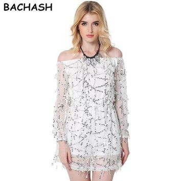 CREYCI7 BACHASH 2017 Autumn Gold Sequin Embroidery Elegant Jumpsuit Romper Transparent Mesh Sleeve Playsuit Women Sexy Spring Summer B40