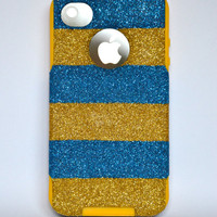 iPhone 4/4s Blue and Yellow glitter Otterbox Case,Custom  Glitter Blue and Yellow/ Yellow Otterbox Color Combination, iPhone 4/4s cover case