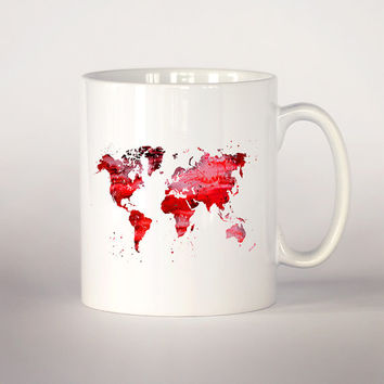 Map of the world mug 2, Red map watercolor Tea Cup, coffee cup 11 oz. Mug art, Ceramic Mug art, Red map mug, Watercolor illustration