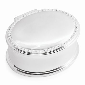 Silver-plated Beaded Oval Jewelry Box - Engravable Personalized Gift Item
