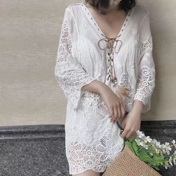 Hollow Out Lace Sexy Long Sleeve Beach Blouse [11600691226]