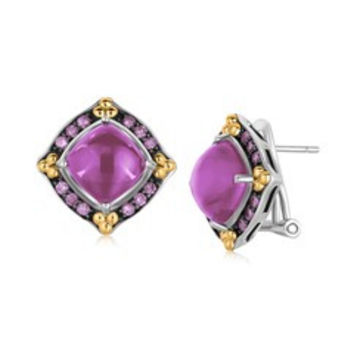 Amethyst Cabochon Earrings with Pink Sapphires in 18K Yellow Gold and Sterling Silver