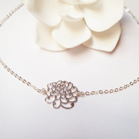 Sterling Silver Chrysanthemum Freshwater Pearl Necklace