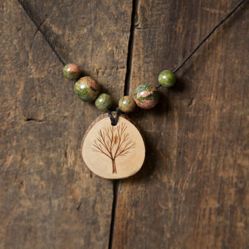 Wood Burned Tree Pendant with unakite semiprecious stones on natural hemp cord necklace
