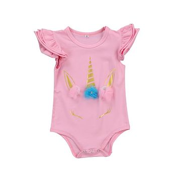 Baby unicorn Clothing 2017 New Newborn Baby Boy Girl Ruffles Romper Clothes Long Sleeve Infant jumpsuits