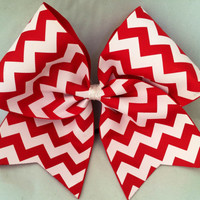 Practice Cheer Bow - Red and White Chevron