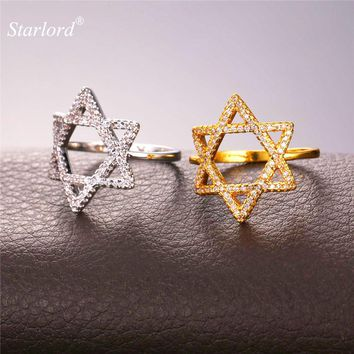 Starlord Magen Star Of David Ring For Women Jewelry Luxury Cubic Zirconia Gold Color Israel Jewish Rings R2310