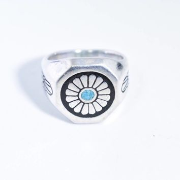 Vintage Native American Style Southwestern Real Turquoise Stone inlay Mens Chrysanthemum Ring