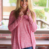 What's Your Fancy Cowl Neck Sweater - Burgundy