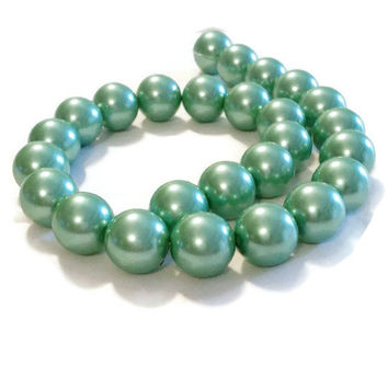 Beads For Jewelry Making, 16mm Beads, Chunky Beads, 25 Pearls, Green Pearls, Large Pearls, Loose Pearls, Pearl Beads Bulk