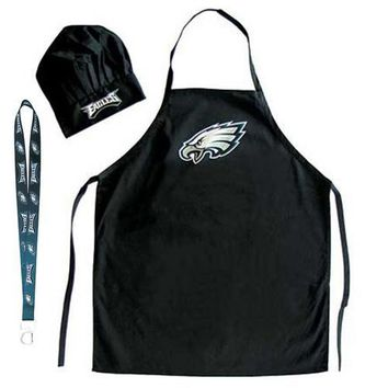 Philadelphia Eagles NFL Barbeque Apron and Chef's Hat with Bottle Opener