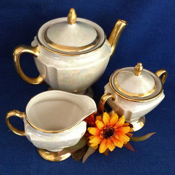Lusterware Tea Set, 22K gold, Mid-Century Tea Set, Pearl China Company