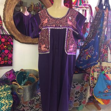 Mexican Fino Embroidered Maxi Dress Purple and Pink